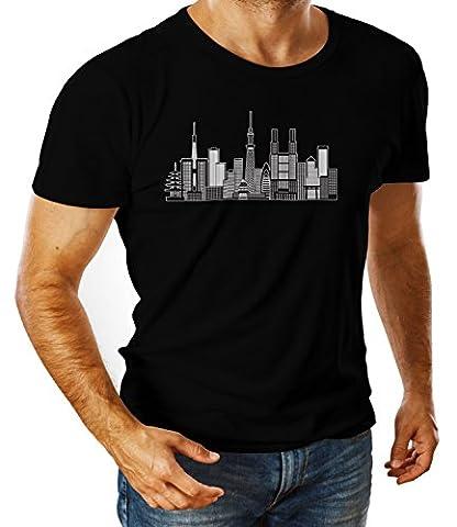 Billion Group   Illustration Of Tokyo   City Collection   Men's Ben Crew Neck Classic Tshirt Noir Small