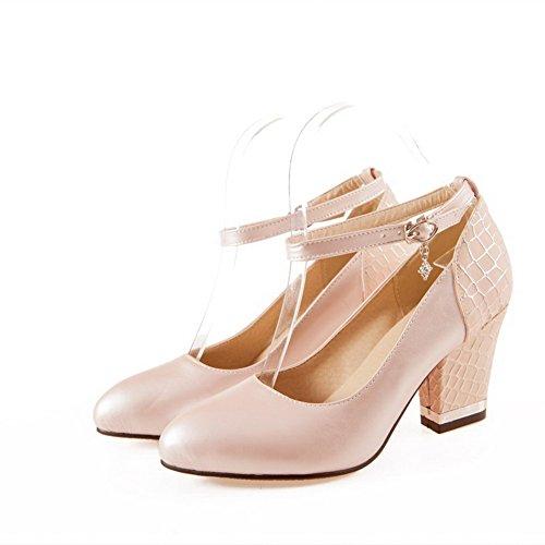AgooLar Damen Hoher Absatz Weiches Material Rein Schnalle Spitz Zehe Pumps Schuhe Pink