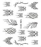 1 foglio di colore di fiori stili Nail Art Stickers decalcomanie pieno di punte colorate progettato unghie unghie suggerimenti di decorazione YZW-1419