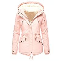 LOPILY Ladies Teddy Bear Jacket Hooded Parker Jacket Arctic Velvet Lining Warm Insulated Solid Color Mountain Jacket Heavy Weight Jacket Coat