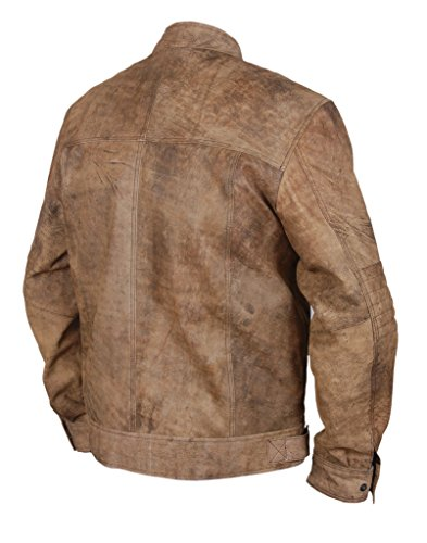 F&H Men's Genuine Leather Distressed Finish Cafe Racer Biker Jacket brown