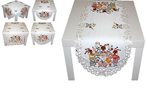 hübsche Tischdecke 50x100 cm oval OSTERN weiß OsterHASEN farbig gestickt Polyester Osterdecke Ostertischdecke (Tischläufer 50x100 cm oval)