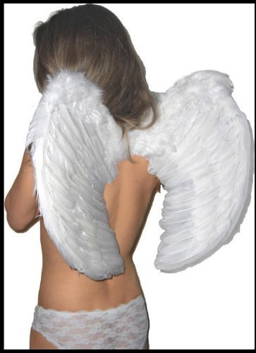 Engelsflügel Federflügel Weiß Groß - Engelflügel weiss für Kinder und Erwachsene 60x40 (Engel Kostüm Teufel Kind)