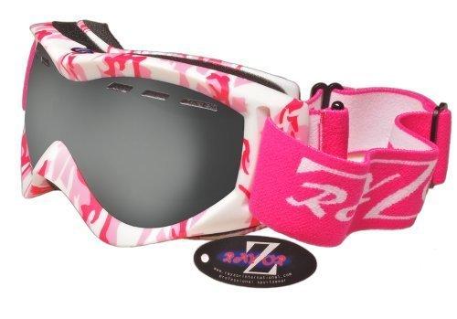 Rayzor professionnels UV400 doubles lensed ski / snowboard Lunettes, avec un cadre Matt Rose Camouflage avec un anti brouillard, ventilé fumé miroir anti-éblouissement Clarity large Vision Lentille
