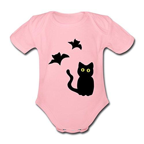 Haloween Kostüme Baby (Halloween Katze mit Fledermäusen Baby Bio-Kurzarm-Body von Spreadshirt®, 80 (9-12 M.),)