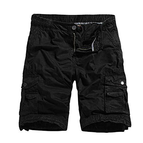 NEEKY Men Shorts Loose Sommer Herrenmode Mid-Rise Herren Shorts Casual Multi-Pocket Tooling Pants Herren Hosen Sommer 1/2(32,Schwarz)