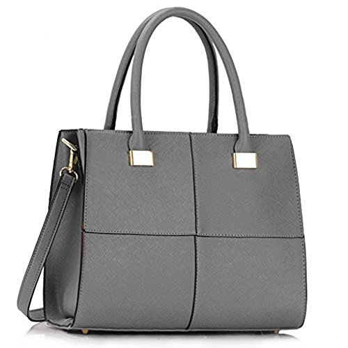 TrendStar Damen Der Frauen-Handtasche Umhängetaschen Konstrukteur Mode Promi-Stil Kunstleder Grau