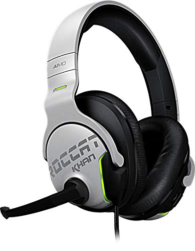 Roccat Khan Aimo 7.1 Surround Gaming Kopfhörer (Hi-Res Sound, USB, AIMO LED Beleuchtung, Real-Voice Mikrofon mit Mute-Funktion) weiß