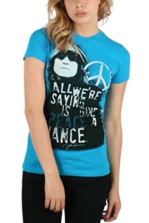 John Lennon - Give Peace Womens T-Shirt In Turquoise, Size: Large, Color: Turquoise