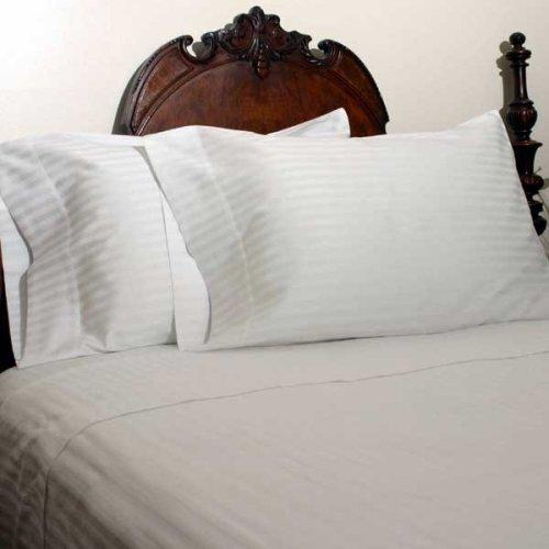Solide Ägyptischer Baumwolle Blatt (Ägyptische Betten 1000-thread-count Ägyptische Baumwolle-Bettlaken-Set, Queen, weiß gestreift)