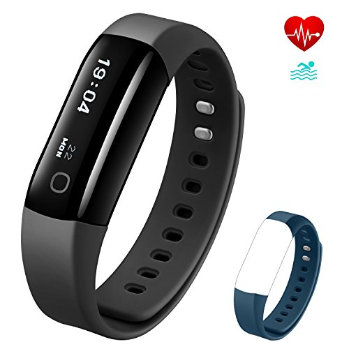 Vigorun Fitness Armband Wasserdicht IP68 Fitness Tracker mit Pulsmesser Fitnessuhr Aktivitätstracker Schrittzähler Anruf- und SMS-Benachrichtigungen, für Damen und Herren