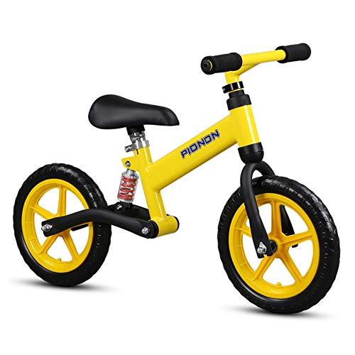 AMDHZ Equilibrio Bici Nessun Pedale Mini Bici Smorzamento 2-6 Anni Macchina Scorrevole Pneumatici Silenziosi, 2 Colori (Color : Yellow, Size : 90x60cm)