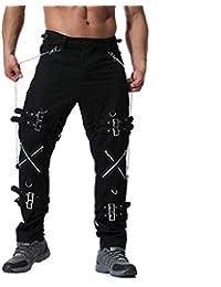 OHQ Pantalon Slim Grande Taille à GlissièRe pour Homme Vert Militaire Noir  Kaki Gris Foncé Hommes Pantalons Longs Occasionnels Cargo… 23fd78c0a2e