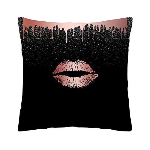 Kissenbezug aus roségoldenem Polyester - Rose Black Gold Kissenbezug Platz Kissenbezug Home Decoration Bett Sofa Kissen Cover (J, 45 * 45cm)