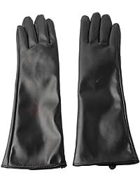 Accessoryo - dames élégantes longs gants en cuir noir faux