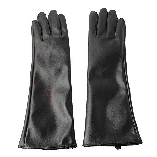 Accessoryo - Damen elegant schwarzem Kunstleder lange Handschuhe