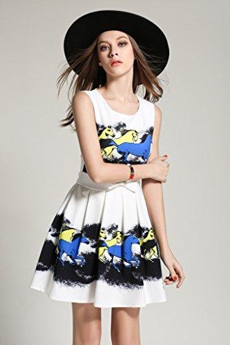 BOMOVO Fashion Damen Schleife Sommerkleid Mit Blumenmuster MiniKleid Faltenrock Blau