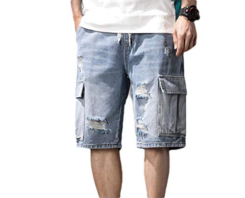 Dockers Washed Chino (CuteRose Men's Denim Summer Casual Leisure Straight Washed Denim Shorts Blue L)