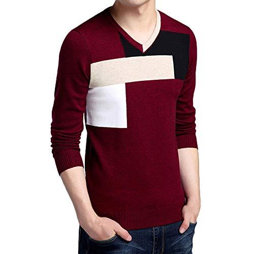 MEIbax Herren Winter Tops Langarm V-Ausschnitt Colorblock Slim Strick Pullover Sweatshirts Langarmshirt Oberteile