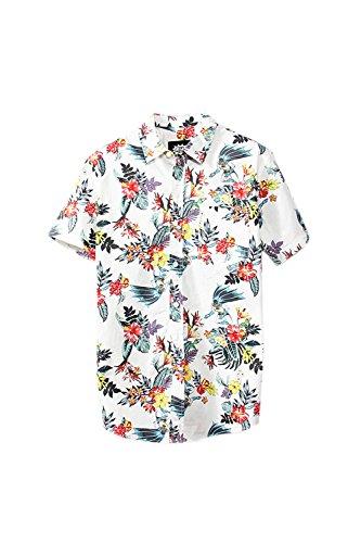 Simgahuva-Hombres-Camisa-Hawaiana-Florales-Aloha-Shirts-White-L