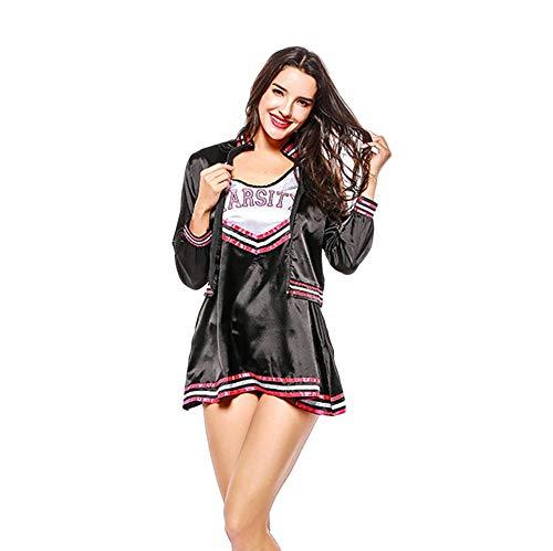 MCO%SISTSR Cheerleader-Kostüm,Mädchen Team Uniform Set Fußball Kleid High School Musik Kleidung Sportwettbewerb Dance Performance,Schwarz,Einheitsgröße (69 Fußball Kostüm)