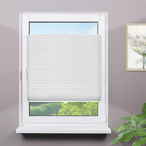 Fensterdecor Plissee Sichtschutz ohne Bohren inkl. Klemmträger / Farbe Crush-Weiß 90 x 130 cm (BxH)