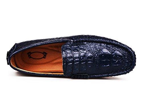 SK Studio Homme Mocassins Plage Cuir Conduite Chaussures Grande Taille Texture de Crocodile Flaneurs Bleu