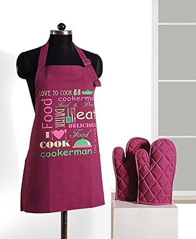 Handgemachte Grafik-Display Print Schürze & Ofen Mitt Set - 100 % Baumwolle - Küche-Geschenke Für Frauen, Apg03-G022