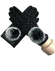 Invierno de MS caliente moda piel bola toque pantalla guantes , 2