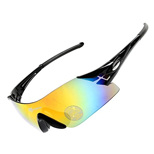 hysenm Radsportler rahmenlose Single Lens UV400Sonnenbrille Radfahren Angeln Klettern Eyewear, schwarz