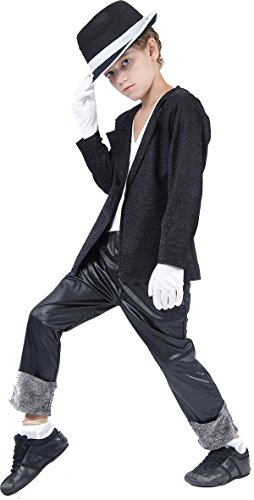 Superstar. Black Jacket/Trousers (L) costume Kids Fancy (Dress Kinder Fancy In)
