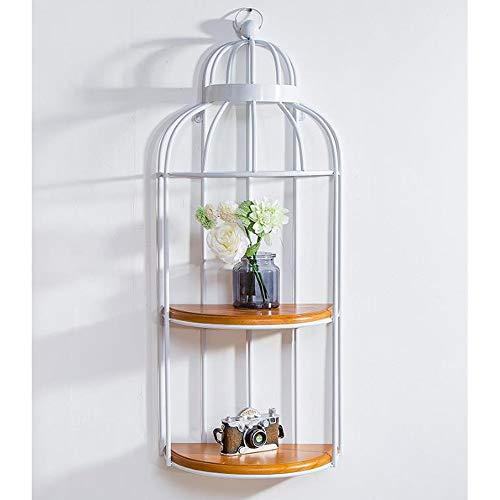 Huahua Furniture Wandregal, Shabby Chic-Regal mit 2 Ebenen, das rustikales schwebendes Regalwand-hängendes Speicher-Hauptlager-Organisation einsortiert (Farbe : Weiß)