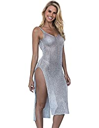71c68dc730 DesignerBox Womens Bikini Cover up, Women's Sexy Sequin See Through Deep V  Neck Spaghetti Strap