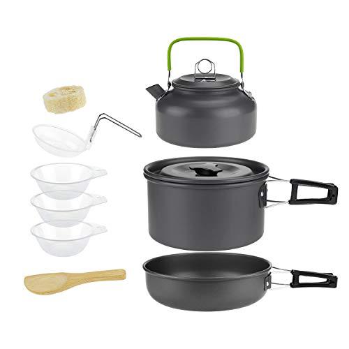 HXFFLYLY Picknick-Camping Wandern Backpacking Pot Pan Kochgeschirr Outdoor-Kochschüssel-Set Picknick-Wander-Utensilien Camping Kochausrüstung