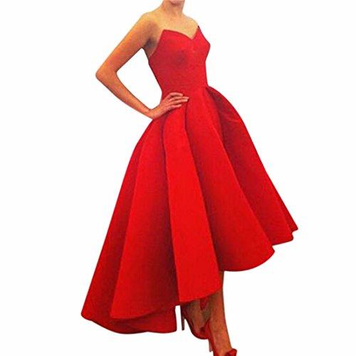 QIYUN.Z Vestito Da Promenade Del Partito Di Cocktail Di Sera Senza Spalline Abito Rosso Le Donne Della Damigella D'Onore Di Sera Rosso