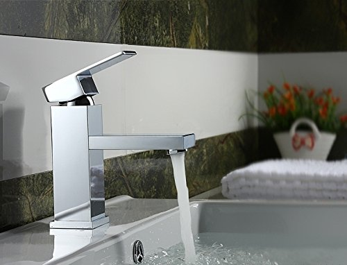 MVPower® Wasserhahn Waschtischarmatur Einhandmischer Waschbecken Bad Küche Armatur Messing verchromt massiv