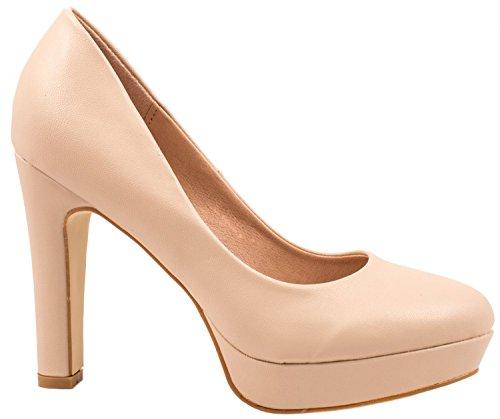 Elara Jumex Zapato de Tacón Alto para Mujer Plataforma Chunkyrayan E22321-Beige-38