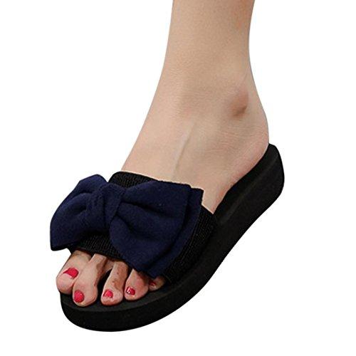 Uomogo® sandali punta aperta donna, bowknot ciabatte infradito pantofole fondo spesso antiscivolo infradito cuneo scarpe da spiaggia estate casuale piatto scarpe piattaforma (asia 39, nero)