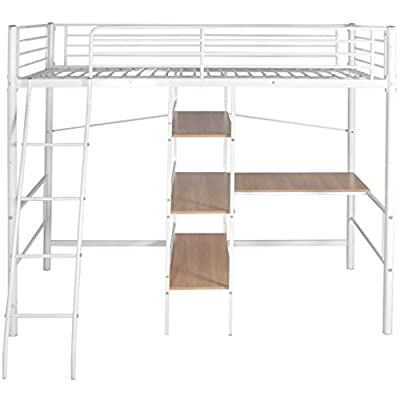 Festnight Metal High Sleeper Bed Frame Bunk Bed with Desk Single White and Brown