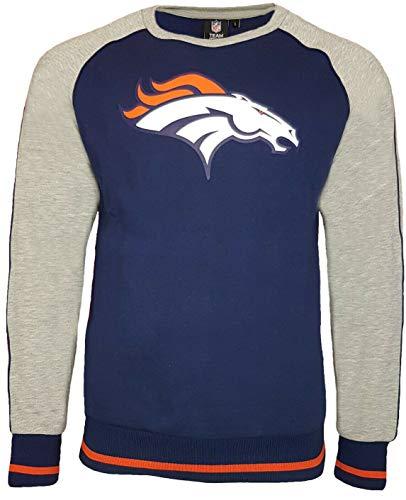 NFL Denver Broncos Fleece Raglan Crew Sweatshirt Gr. Small, Navy - Adidas Fleece Rugby