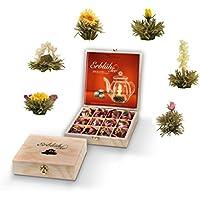 Creano - Caja de madera con bolsitas de té Erblüh (12 bolsitas, 6 tipos de té blanco, cierre con bisagras)