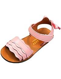 8b538c5c554c6 OHQ Enfants Filles OnduléEs Bow Oreilles Sandales Plage Chaussures Blanc  Jaune Rose Kid Vague Bowknot Oreille