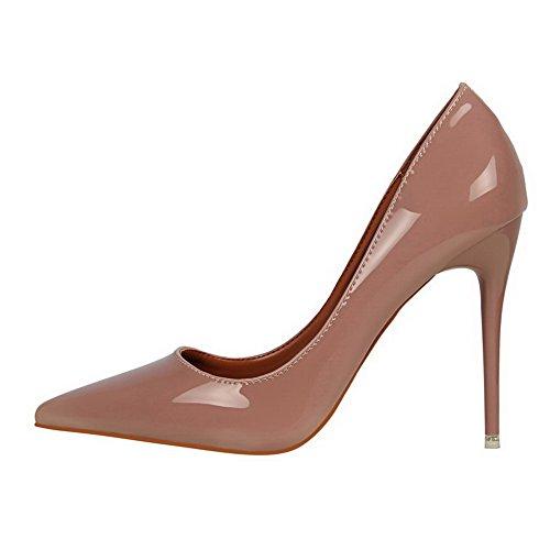 AalarDom Femme Matière Souple Couleur Unie Stylet Pointu Chaussures Légeres Rose-Verni
