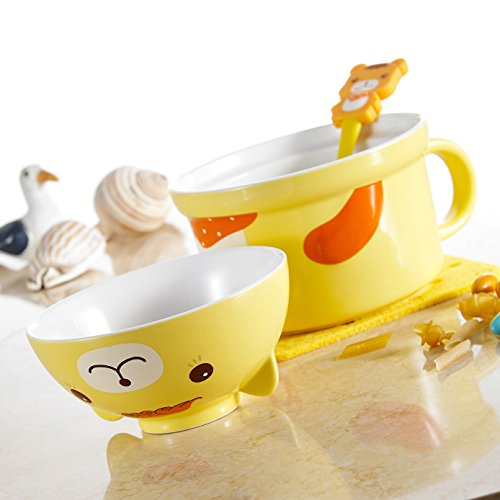 panbado porcellana Cute Cartoon Animal Noodle Ciotola, in ceramica, motivo Lovely Servire ciotola per cereali Tazza con cucchiaio - Giallo Orso