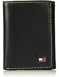 Tommy Hilfiger Men'S Rfid Blocking Leather Logan Extra Capacity Trifold Wallet, Black, One Size