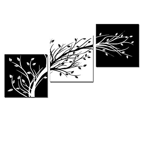 Wieco Art - Leaves Modern 3 Panels Flowers Artwork Giclee Canvas Prints Black and White Abstract Floral Trees Pictures Paintings on Canvas Wall Art for Living Room Bedroom Home Decorations