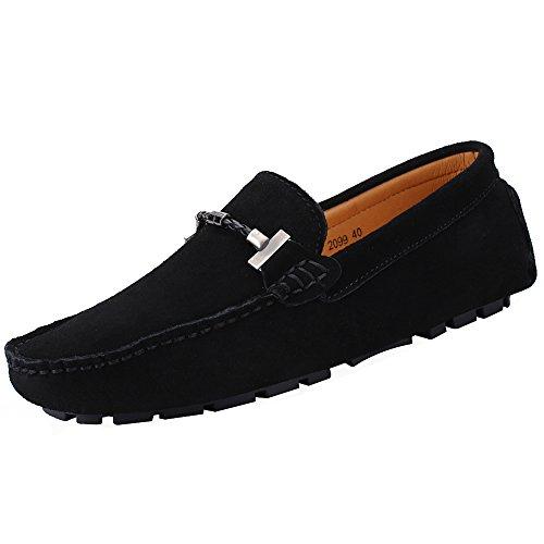 Jamron uomo elegante fibbia mocassini comfort scamosciato scarpe di guida moda pantofole nero sn19020 eu42