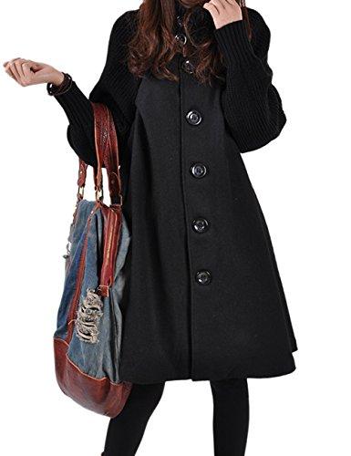 HAHAEMMA Damen Fashion Wintermantel Lang Strickmantel Fleece Knopf Swing Weit Poncho Cape Stil Stehkragen Mantel Winterjacke Loose Fit Kleid(BL,2XL)