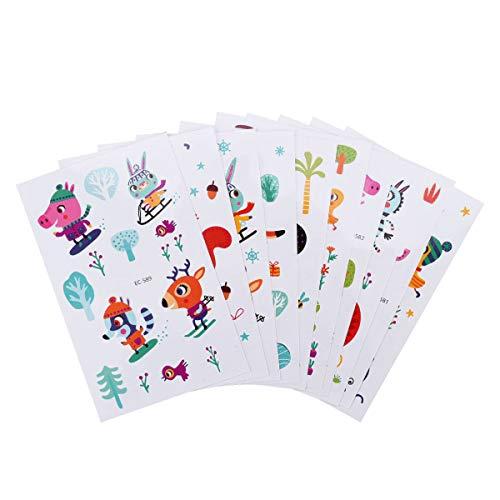 X-mile 10*cartone animato tatuaggi temporanei per bambini, temporary tattoos per bambini festa di compleanno sacchetti regalo giocattolo 12x7.5cm