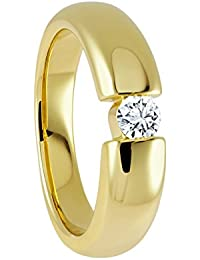 Diamond Line Damen-Diamant-Ring 585 Gelbgold 1 Diamant ca. 0,05ct. getöntes weiß Lupenrein (gW-LR)